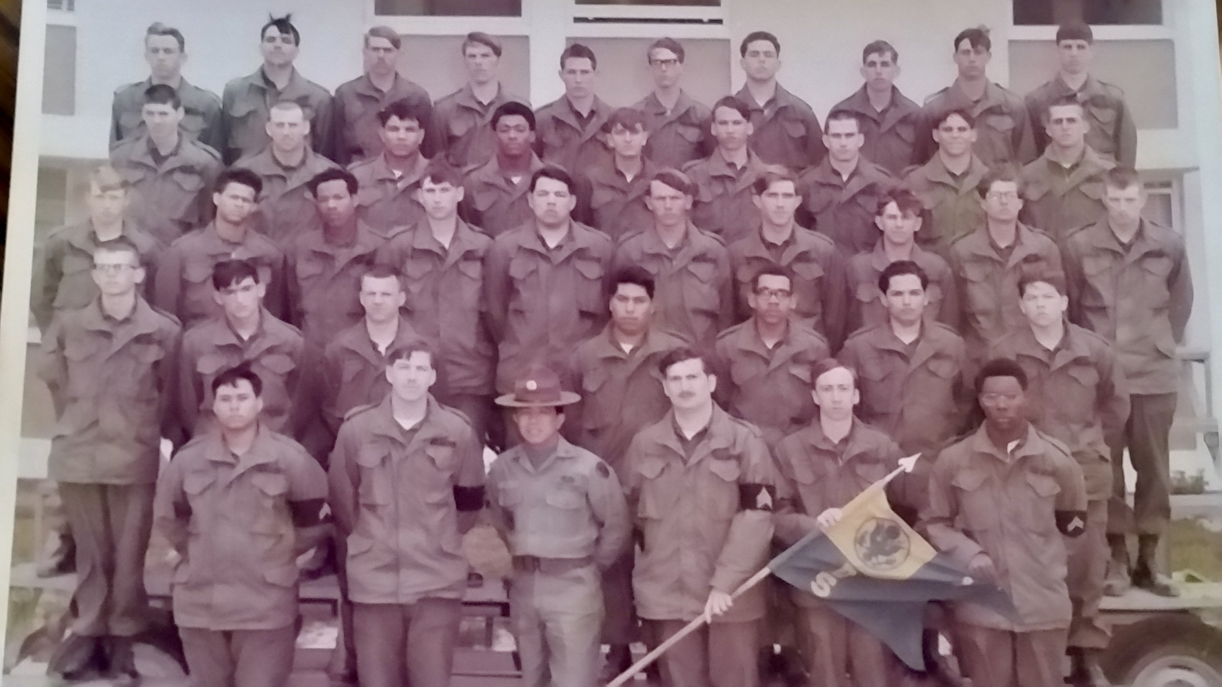 Nolan Fletcher second from the top on the right in basic training circa 1971 at Fort Ord in California.