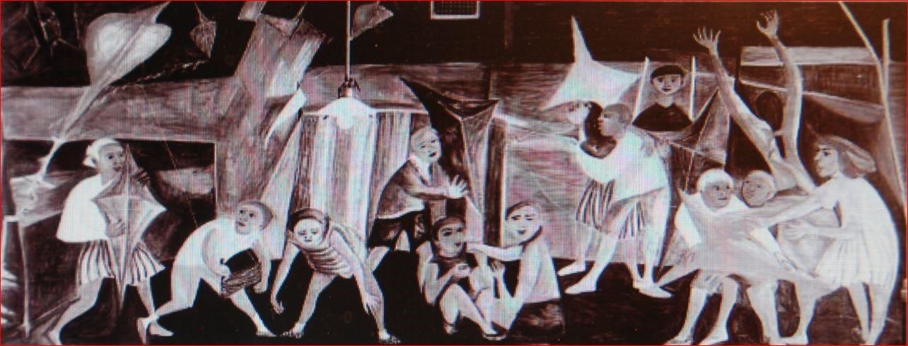 Muurschildering van Dubrunfaut en Somville : 'Spelende kinderen aan zee', 1950, 12 m², in de Rijksmiddelbare School te Overijse