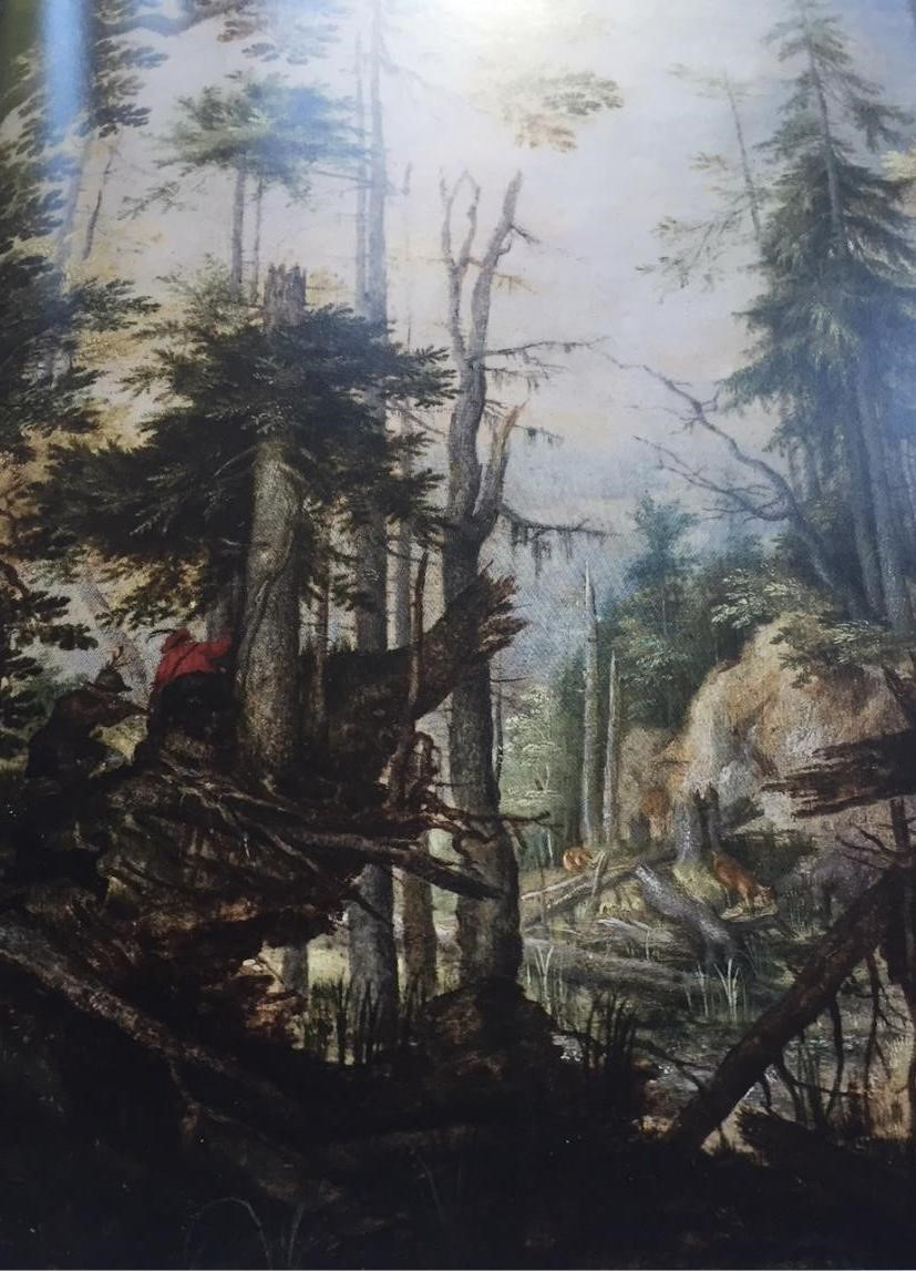 Roelandt Savery    (1576 Kortrijk-Utrecht 1639),    Alpine Landscape with Three Hunters   , c. 1608, oil on copper 22.5 x 16.5 cm, Hearn Family Trust