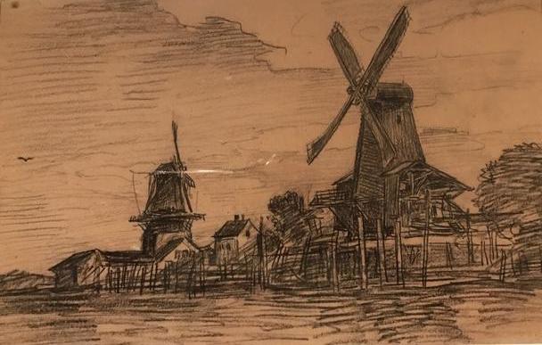 """Daubigny, """"Twee molens in de omgeving van Dordrecht"""""""