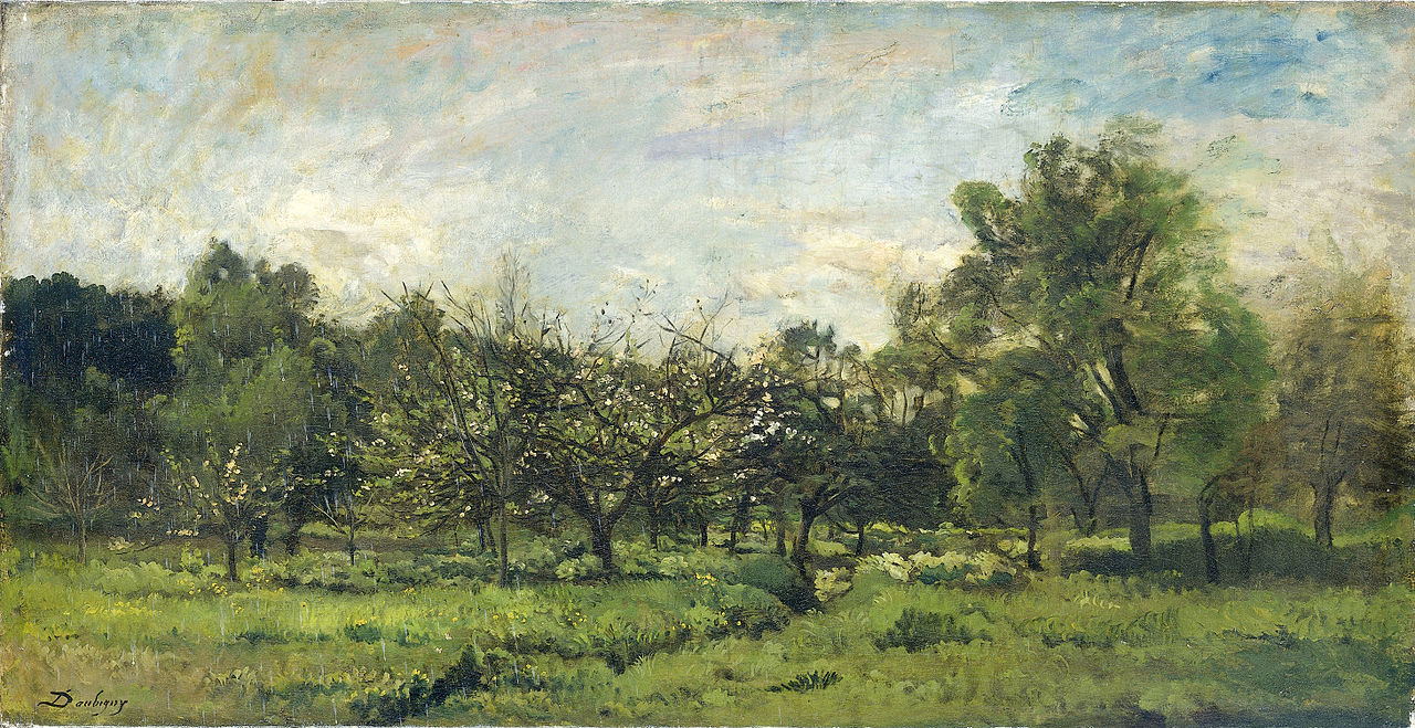 """Daubigny, """"Boomgaard"""" (1865-'69). In 1922 aan het Rijksmuseum Amsterdam geschonken door A. van Wesel uit Amsterdam"""