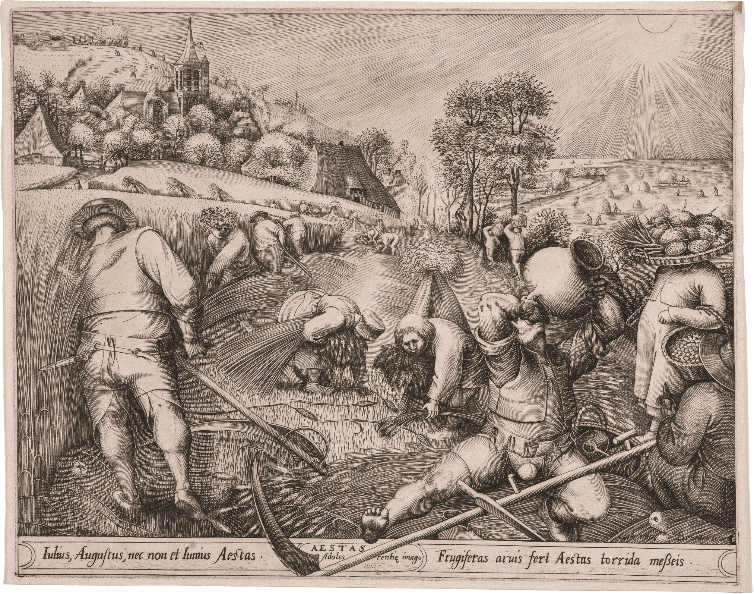 Pieter Bruegel    (c. 1525 Breda-Brussel 1569) egraved by Pieter van der Heyden (c. 1525 Antwerp-Berchem 1569) published by Hieronymus Cock (1510 [1518?] Antwerp (1570).    Summer   , drawing 1568, print 1570-1572, engraving on paper, 22.5x29 cm., Hearn Family Trust. Courtesy of the McMullen Museum of Art, Boston College.