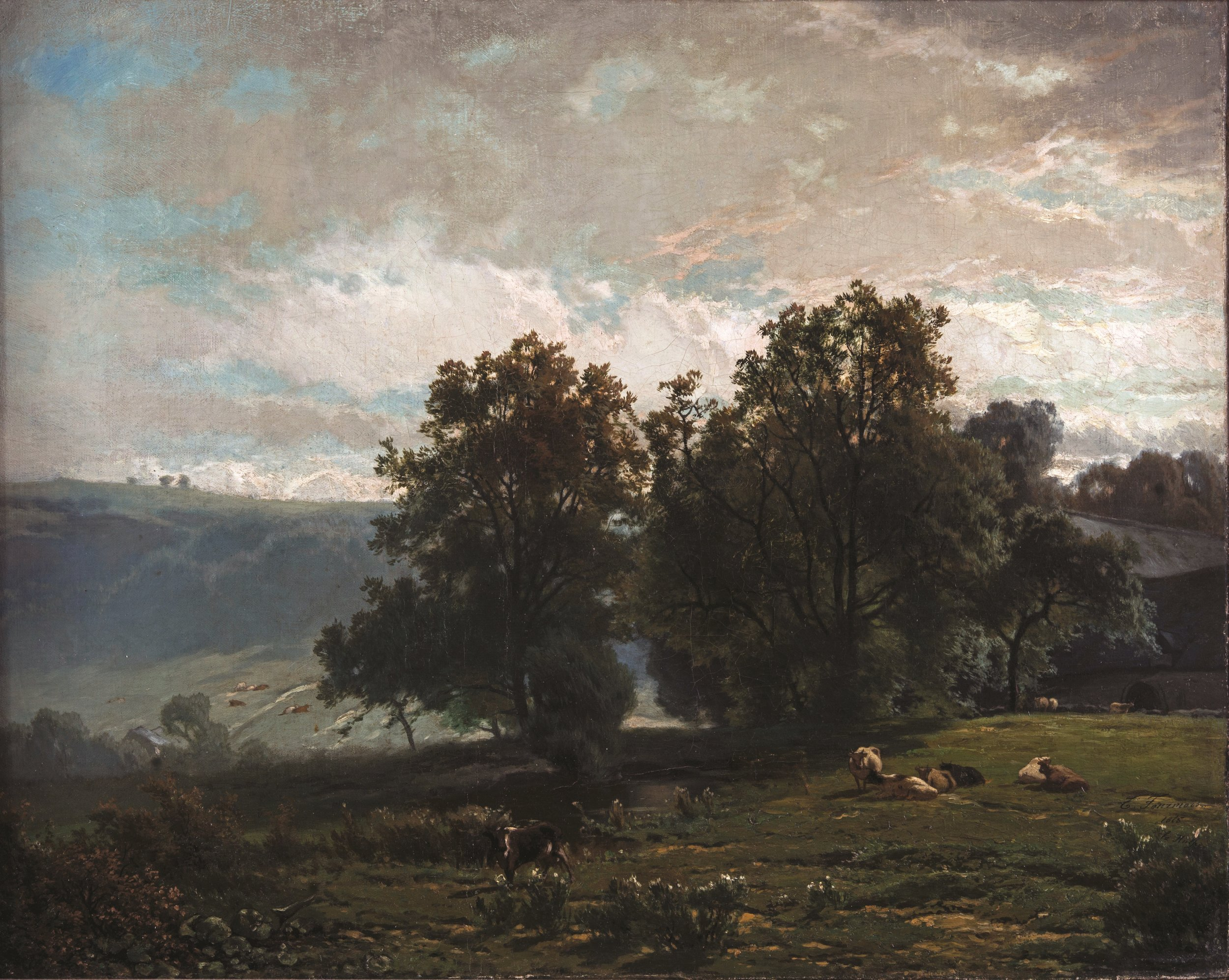 Théodore Fourmois    (1814 Presles-Ixelles 1871),    La Hulpe   , 1865. Oil on canvas, 48.9x61.3 cm, Hearn Family Trust. Courtesy of the McMullen Museum of Art, Boston College'.