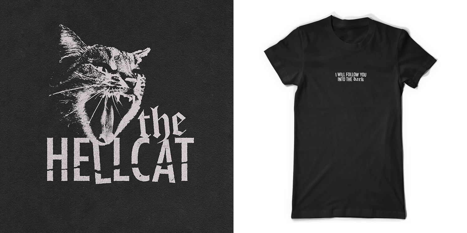 Logo design and lettering for The Hellcat, a now-defunct concert venue in Kitchener (2018).
