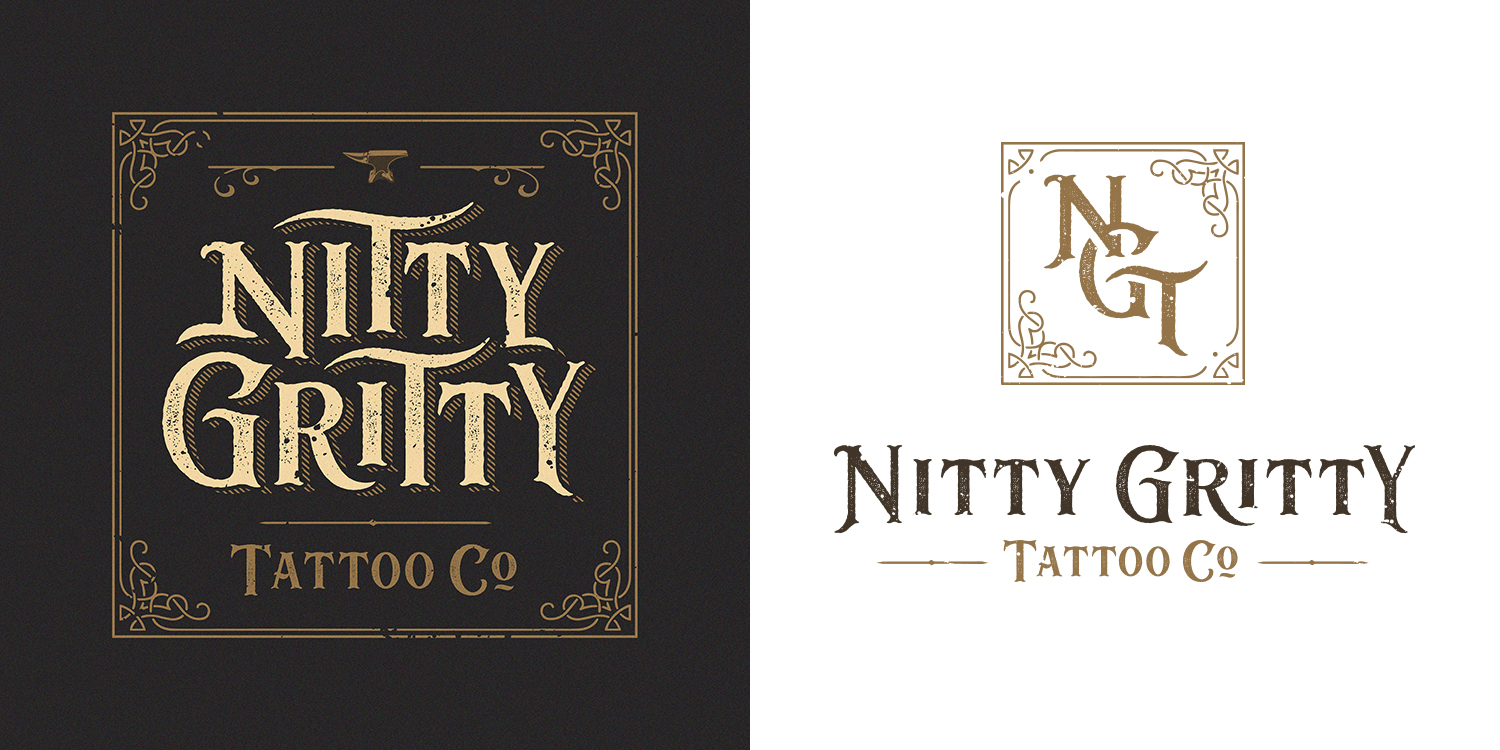 Logo and monogram design for London-based tattoo shop Nitty Gritty Tattoo Co. (2018).