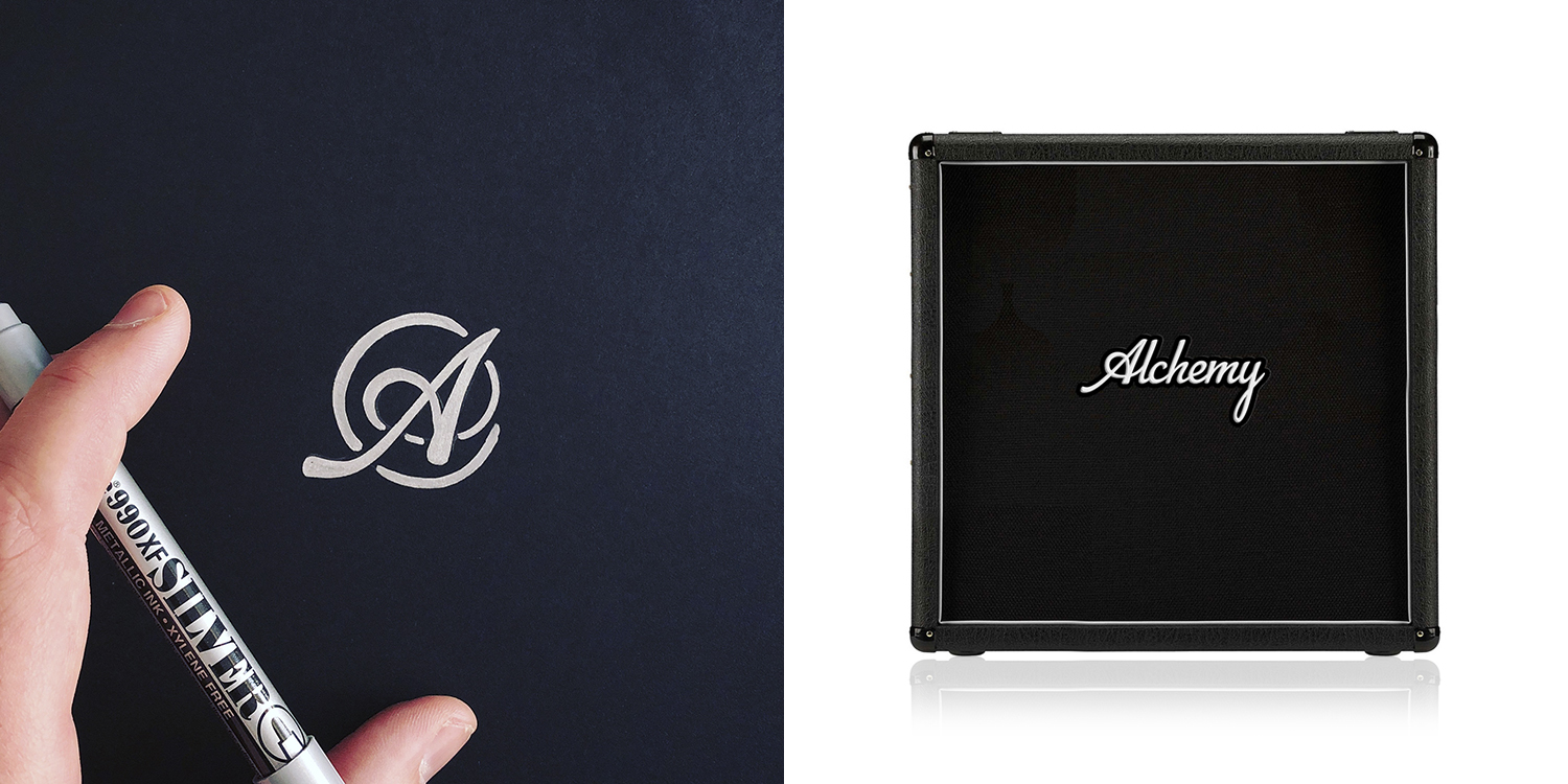 Monogram and word mark design for Alchemy Cabs, a Guelph-based manufacturer of custom made guitar amplifiers (2018).