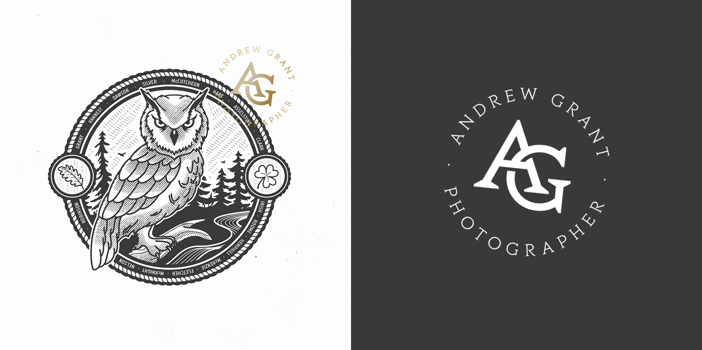 Logo and monogram design for Kitchener-based photographer Andrew Grant (2017).