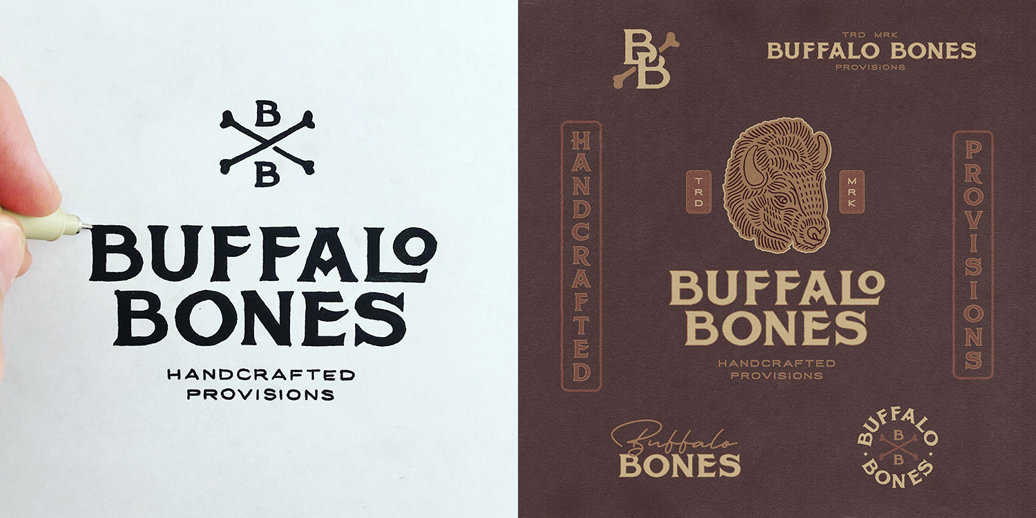 Logo and graphic branding system for Buffalo Bones, a creator of handmade goods made from high quality leathers and exotic hides (2018).