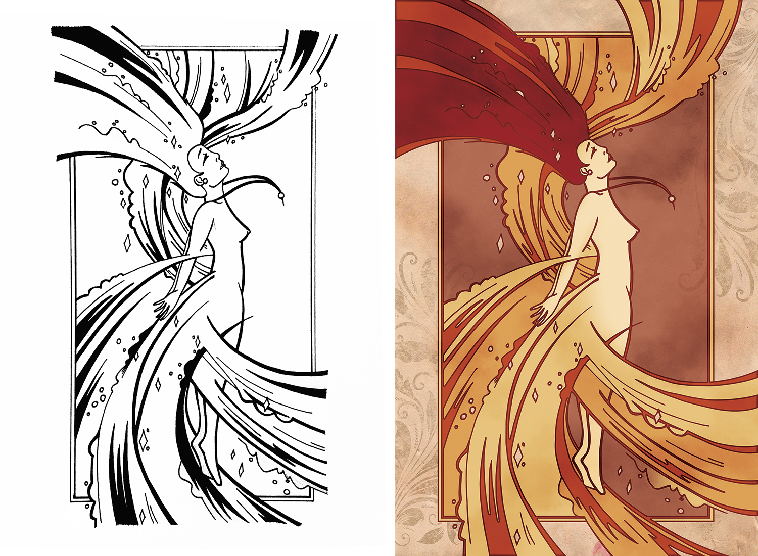 An exercise for Drawing class: create a flat black and white line drawing by hand, and bring it into a digital environment using colour, texture and dimension. My illustration explored the organic forms and warm colour palette of Art Nouveau design through a whimsical illustration of a fairy in transformation.