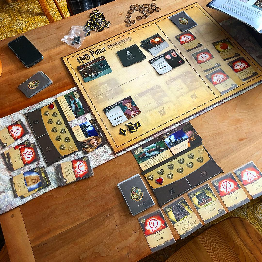 A recent two-player game of Harry Potter: Hogwarts Battle (USAopoly) with my sweetheart. Photo © The Fourth Place