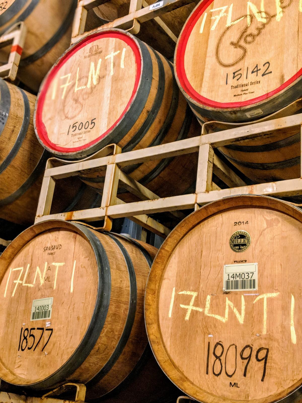 Wine barrels at Messina Hof Winery