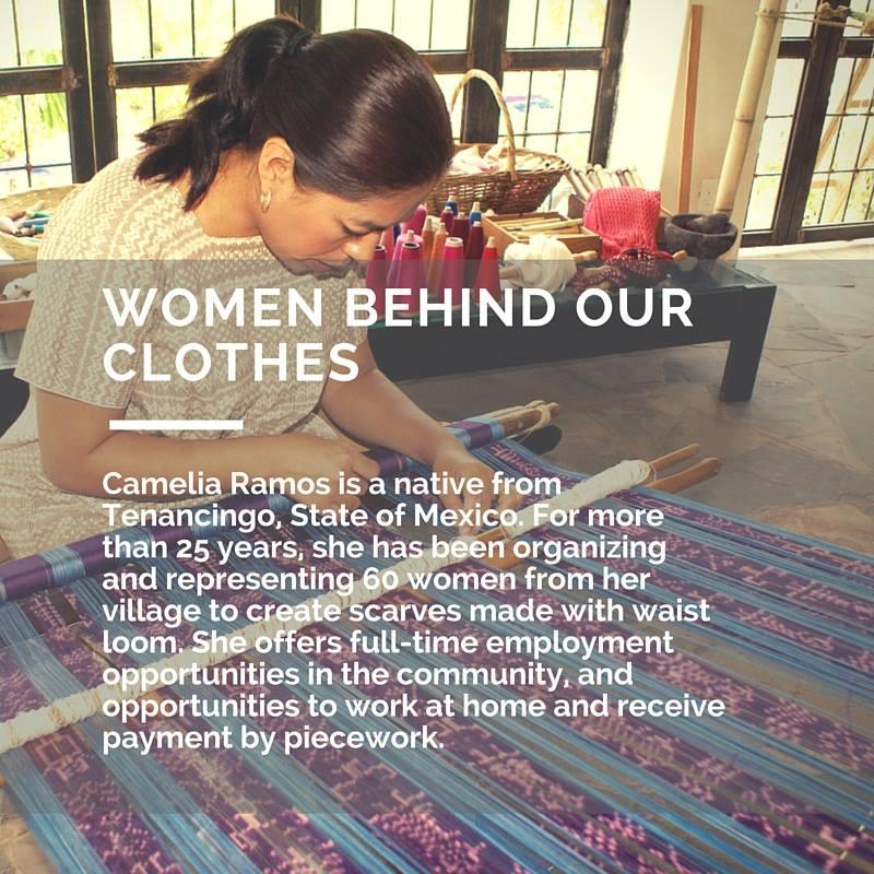 Camelia Ramos es nativa de Tenancingo, Estado de México. Por más de 25 años ha estado organizando y representando a 60 mjeres de su comunidad para la creación de pashminas con telar de cintura. Ella ofrece oportunidades de empleo de tiempo completo en la comunidad, así como la oportunidad de trabajar desde casa y recibir paga por pieza.