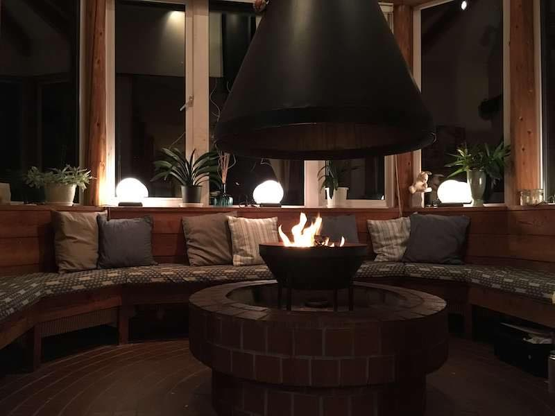 Our cozy fireplace lounge is a great place to enjoy your favourite tipple and a casual snack from our restaurant