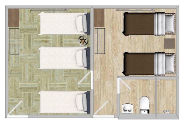 FAMILY SUITE   Suitable for families or groups of up to 6 people. Private En Suite, Western-style Beds, and double-thickness futons + LOFT.
