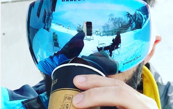 Nothing beats a hot coffee on a bright blue day in the snow!