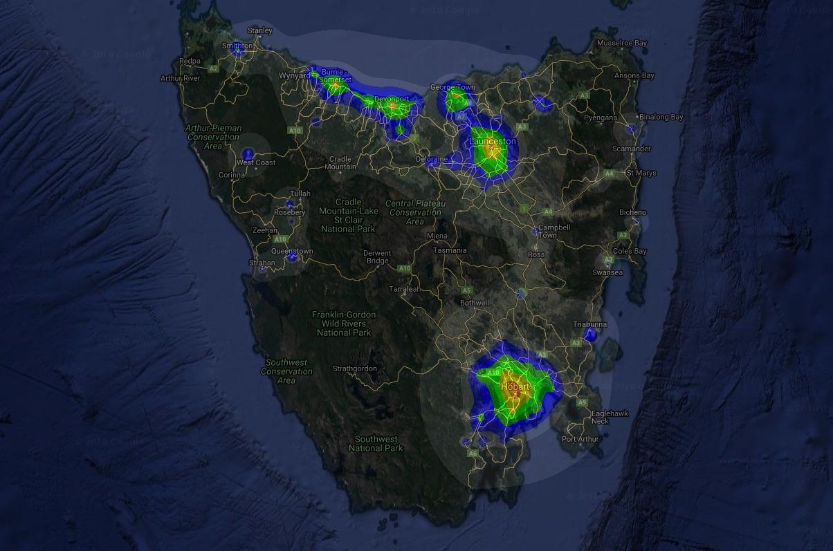 Map of light pollution in Tasmanian from    Dark Site Finder