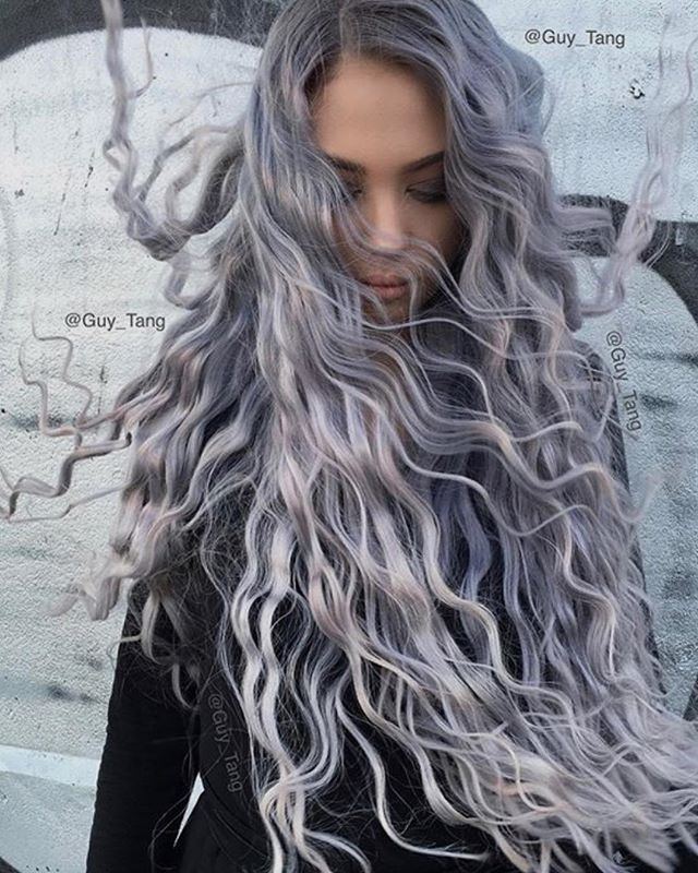 Smokey Curls  _ _  #longhair #curlyhair #smokey #greyhair #silverhair #haircolour #haircolor #behindthechair #modernsalon #rapunzel #fairytale #hairinspo by @guy_tang #lilac #hairdresser #jbeverlyhills #hollywood #glam #hairblogger #hair #vavavoom #fashion #streetstyle #hairpaint #hairproduct #whatdoyouthink #tellus #jbeverlyhillseurope