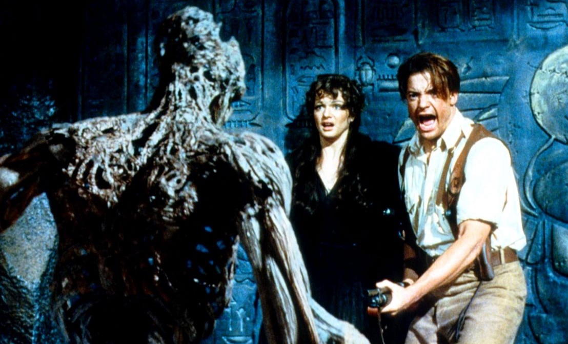 THE MUMMY  (1999) , Universal Pictures. Stars Brendan Fraser (right) and Rachel Weisz (center) battle it our with the Mummy (left), played by Arnold Vosloo.