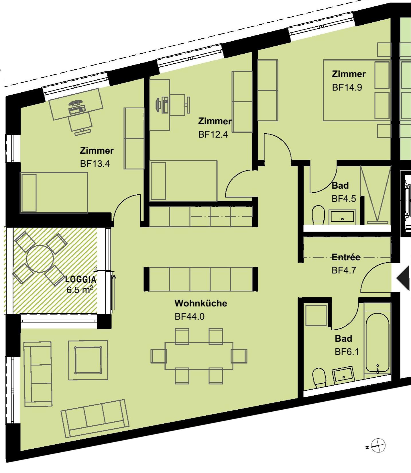 4.5 Zimmerwohnung 1.OG - Typ 7