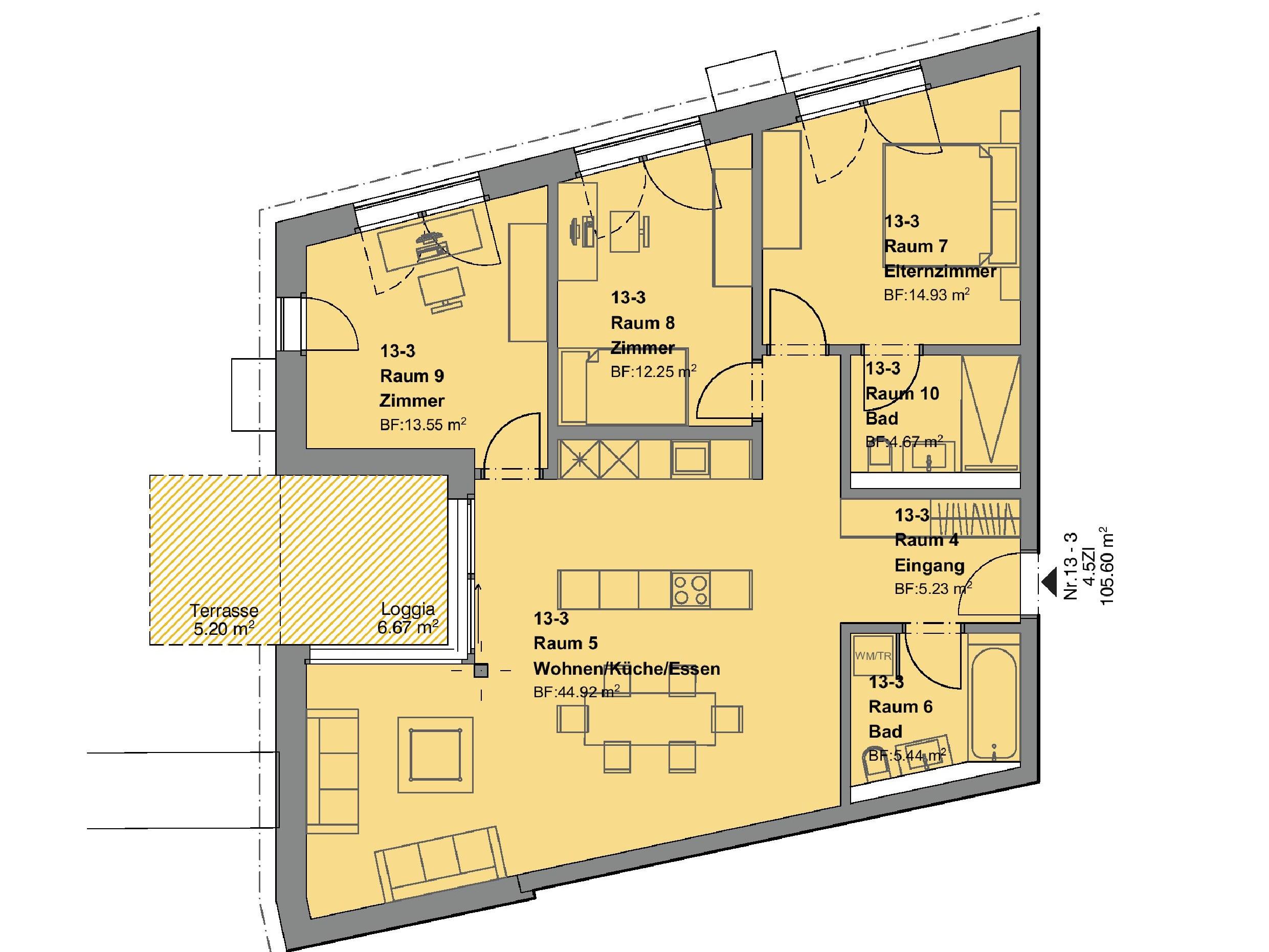 4.5 Zimmerwohnung mit Garten - Haus d + e