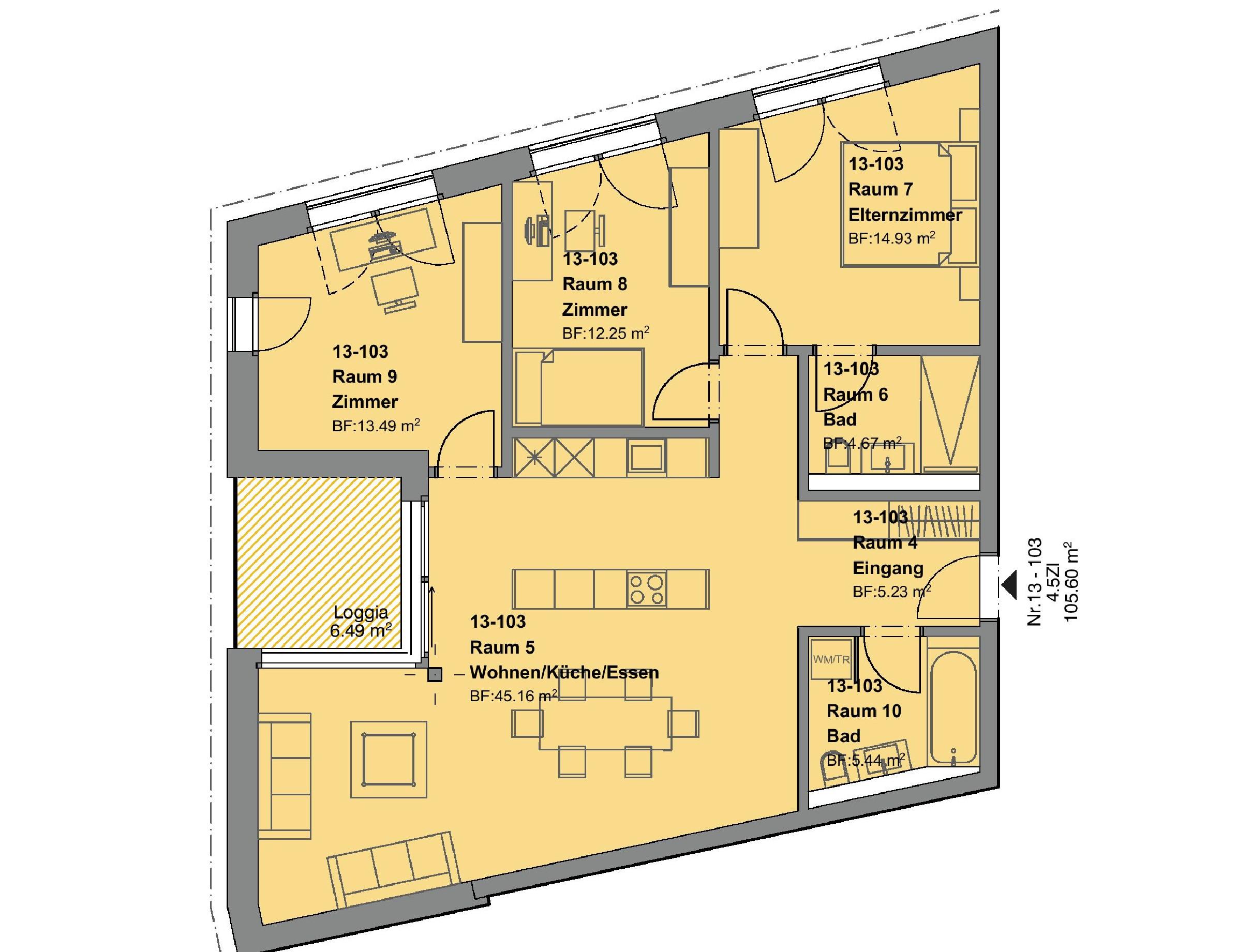 4.5 Zimmerwohnung 1.OG - haus d + e