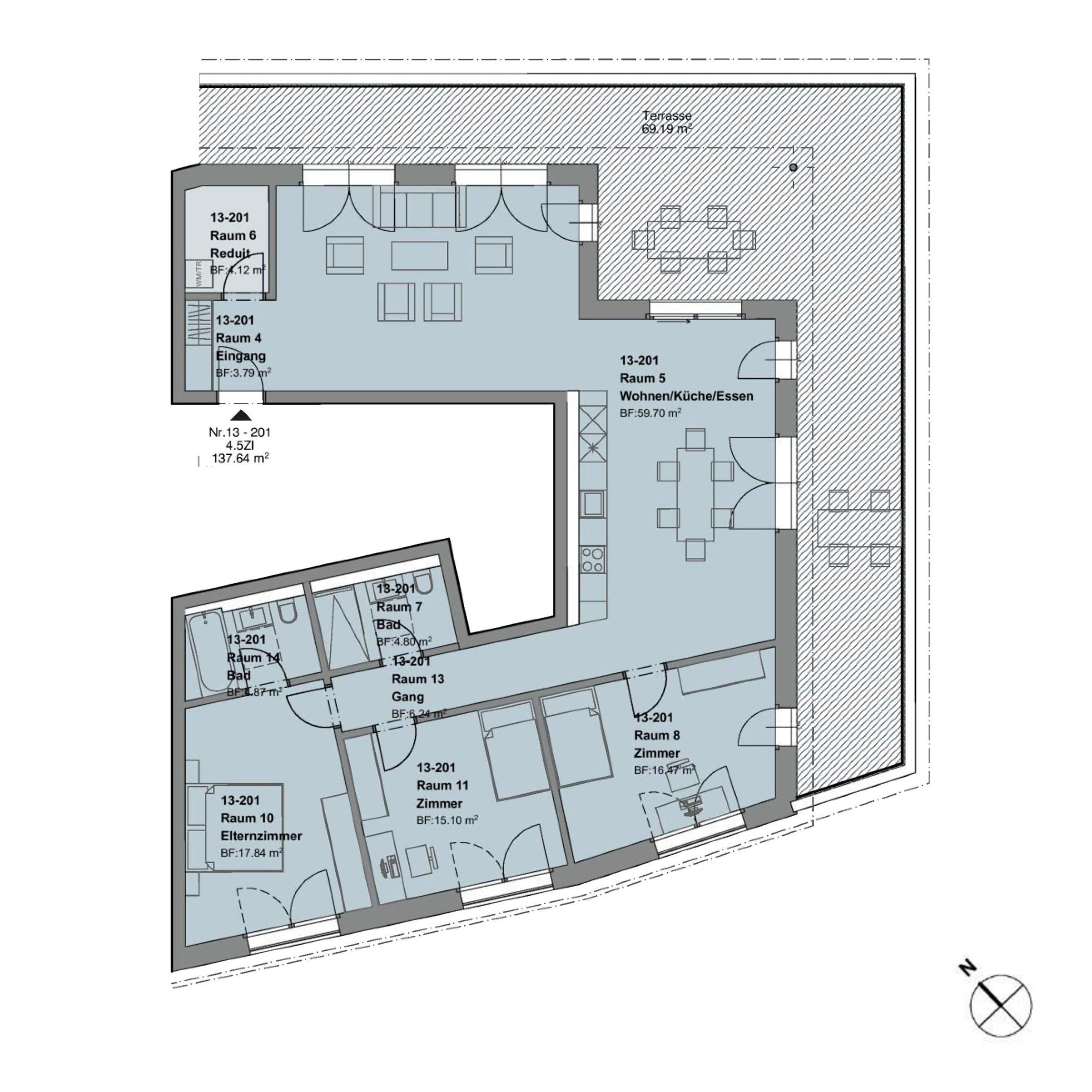 ATTIKA4.5 Zimmerwohnung - Haus d + e