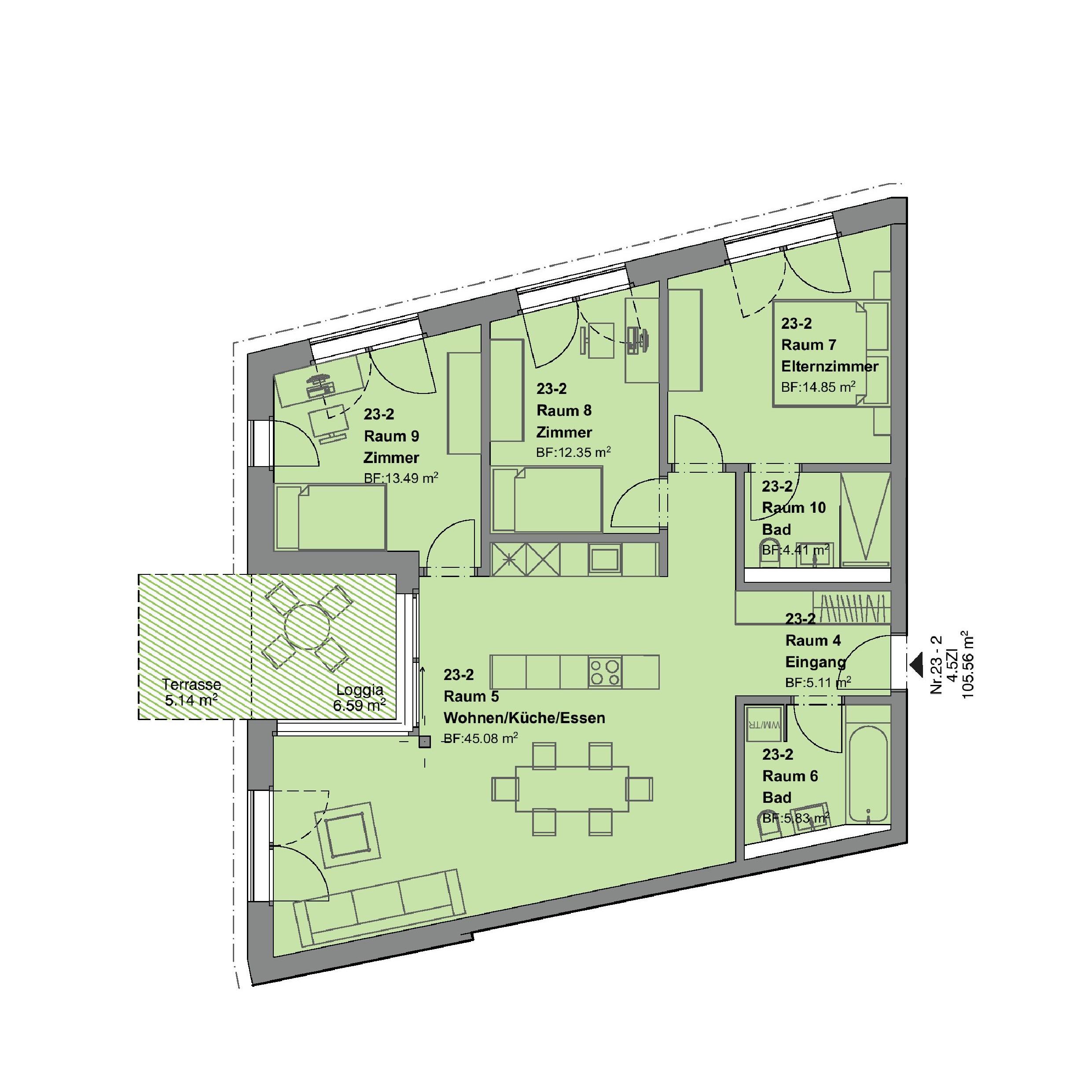 4.5 Zimmerwohnung mit Garten - Haus f