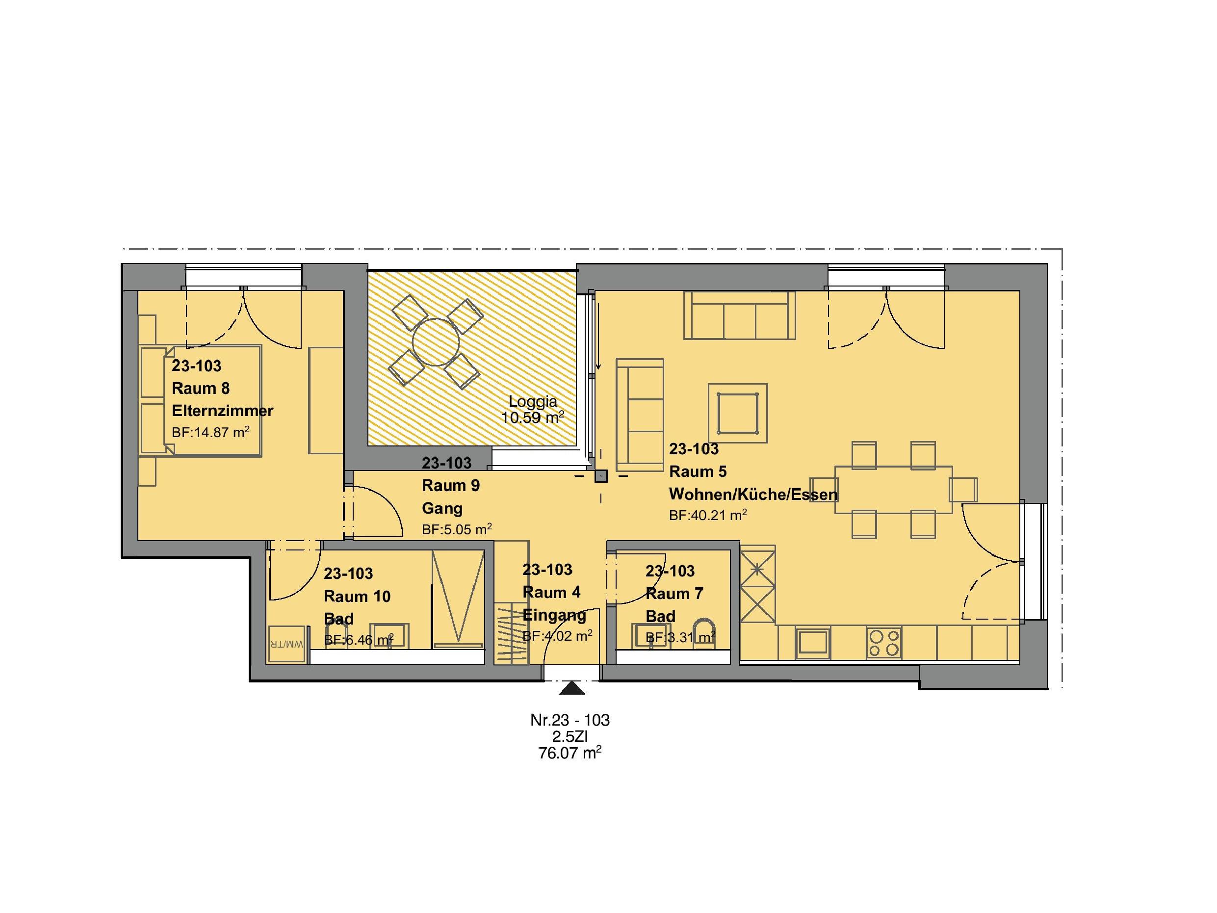2.5 Zimmerwohnung 1.OG - Haus F