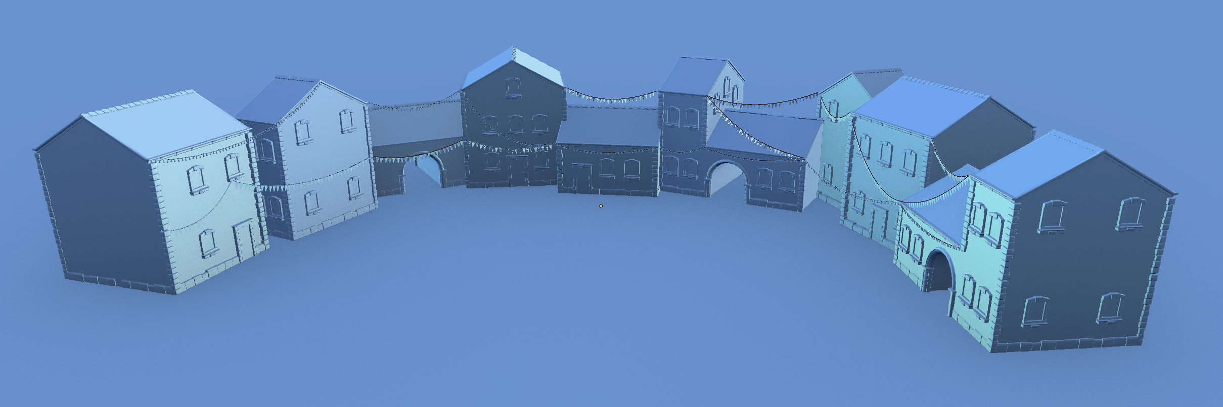Background buildings in their assembled state without textures.
