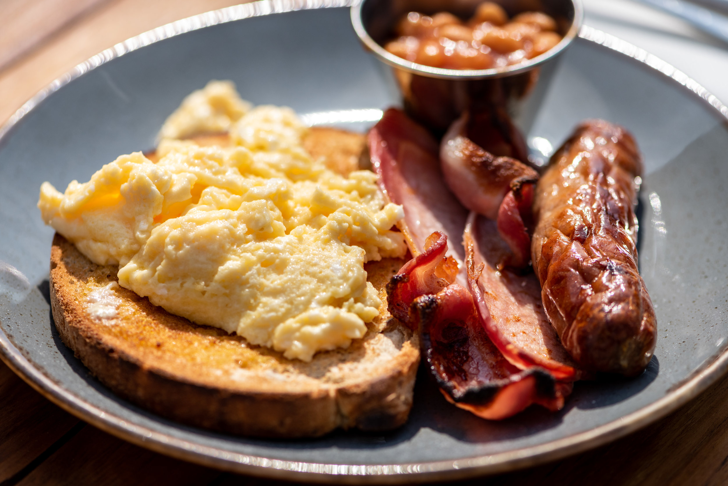 Local Sausage, Scrambled Egg & Baked Beans With Added Bacon