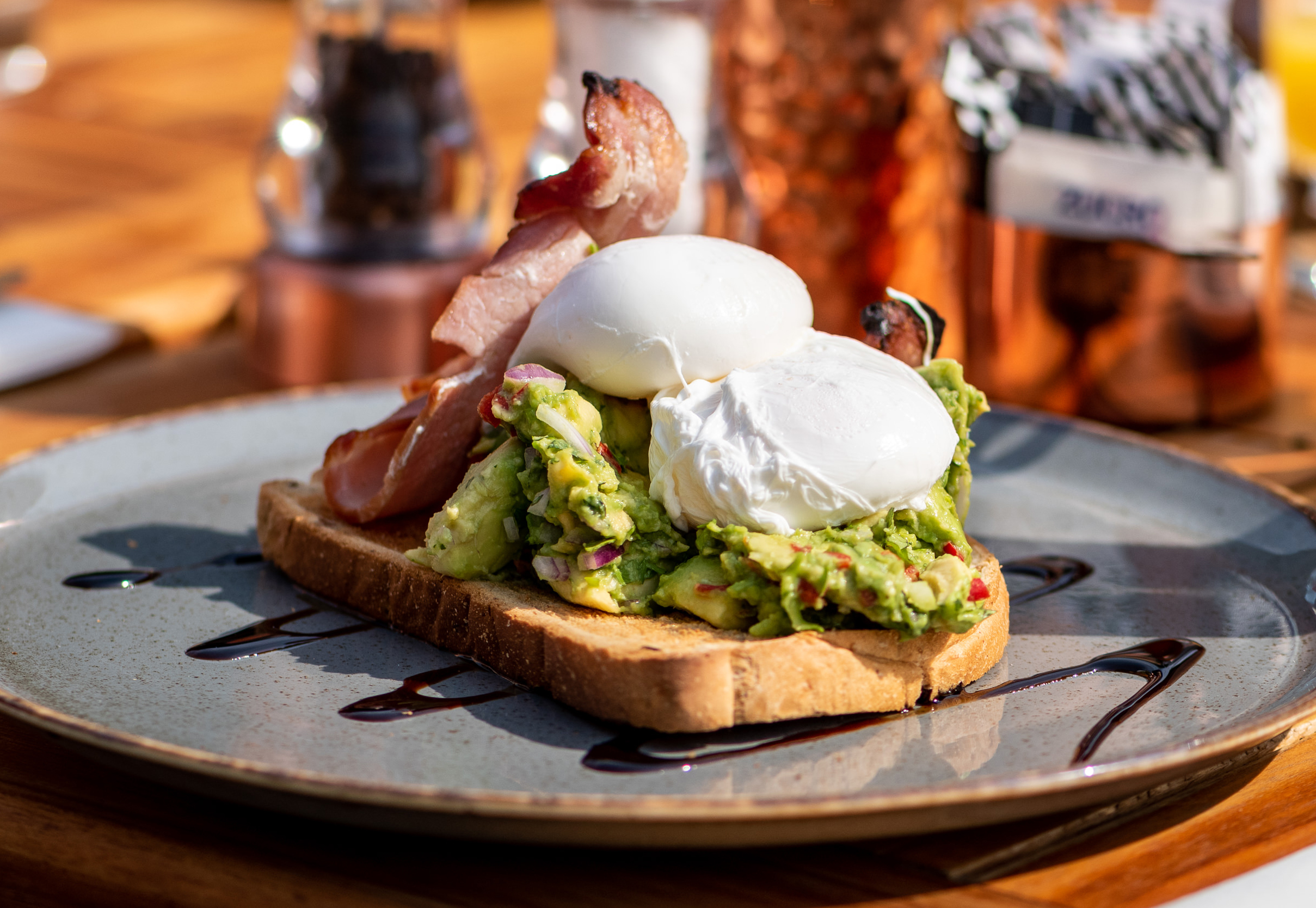 Poached Egg with Spashed Avocado & Bacon