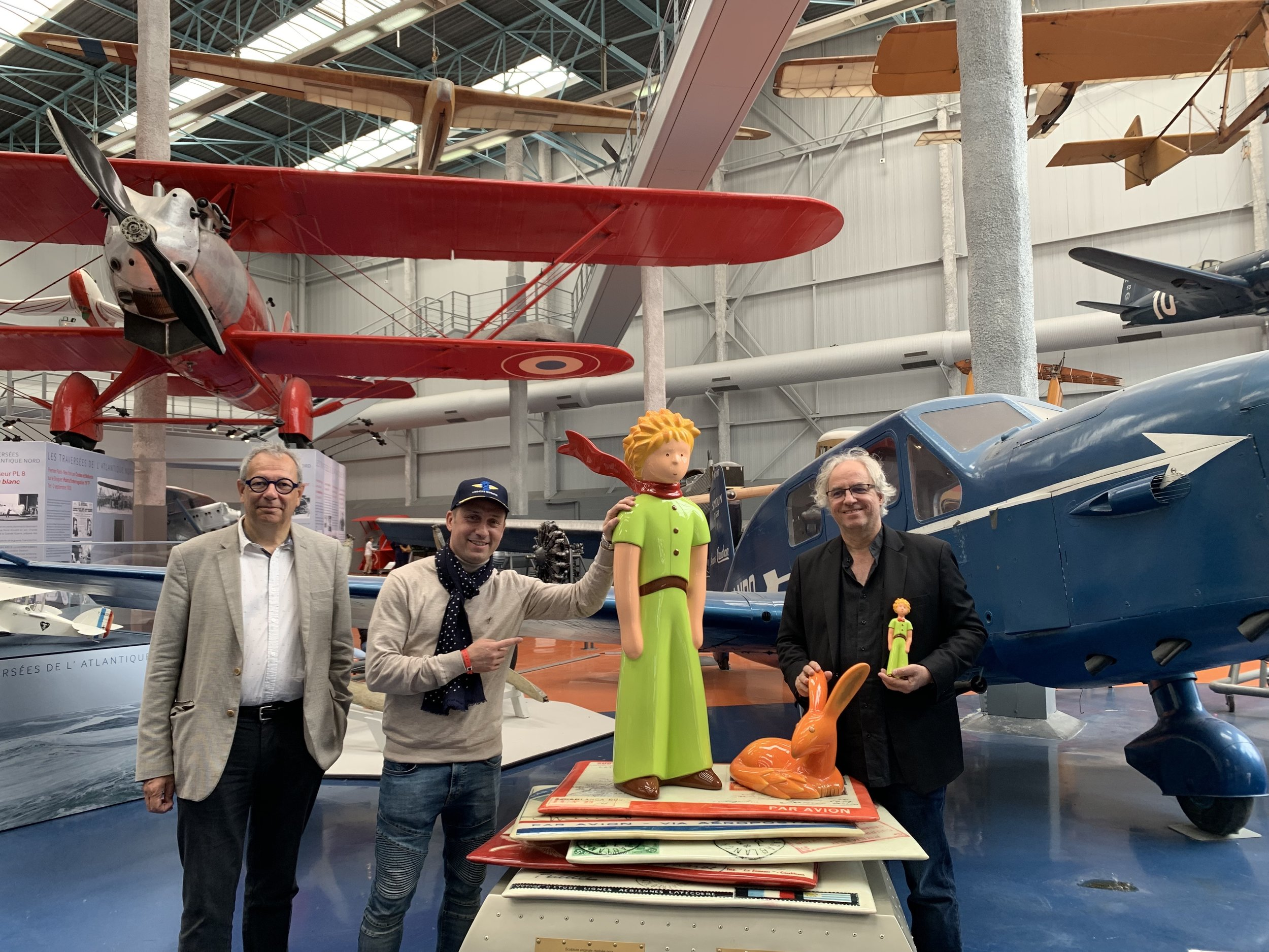 Jean Baptiste Desbois, CEO of La Cité de l'Espace and the new museum in Toulouse (France), l'Envol des Pionniers, Nicolas Delsalle, General Secretary of the FASEJ and Arnaud Nazare-Aga and The Little Prince.
