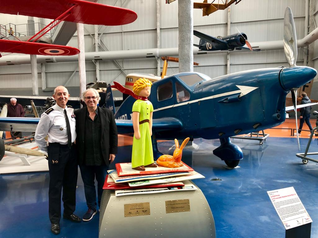 The Chief of Staff of the French Air Force, General Philippe Lavigne, Arnaud Nazare-Aga and The Little Prince in front one of the last Caudron Simoun - 29 Sept 2019