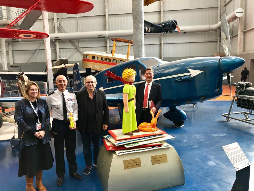 Anne-Catherine Robert-Hauglustaine, Director of Air & Space Museum of Paris, General Philippe Lavigne, Chief of Staff of the French Air Force, Arnaud Nazare-Aga, The Little Prince and General Stéphane Abrial, President of the Board of the Air & Space Museum of Paris-Le Bourget.