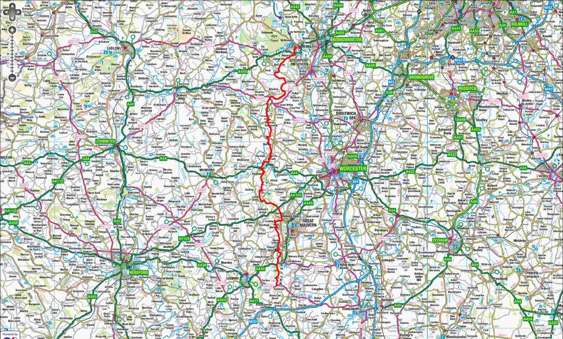 Overview route of the Worcestershire Way
