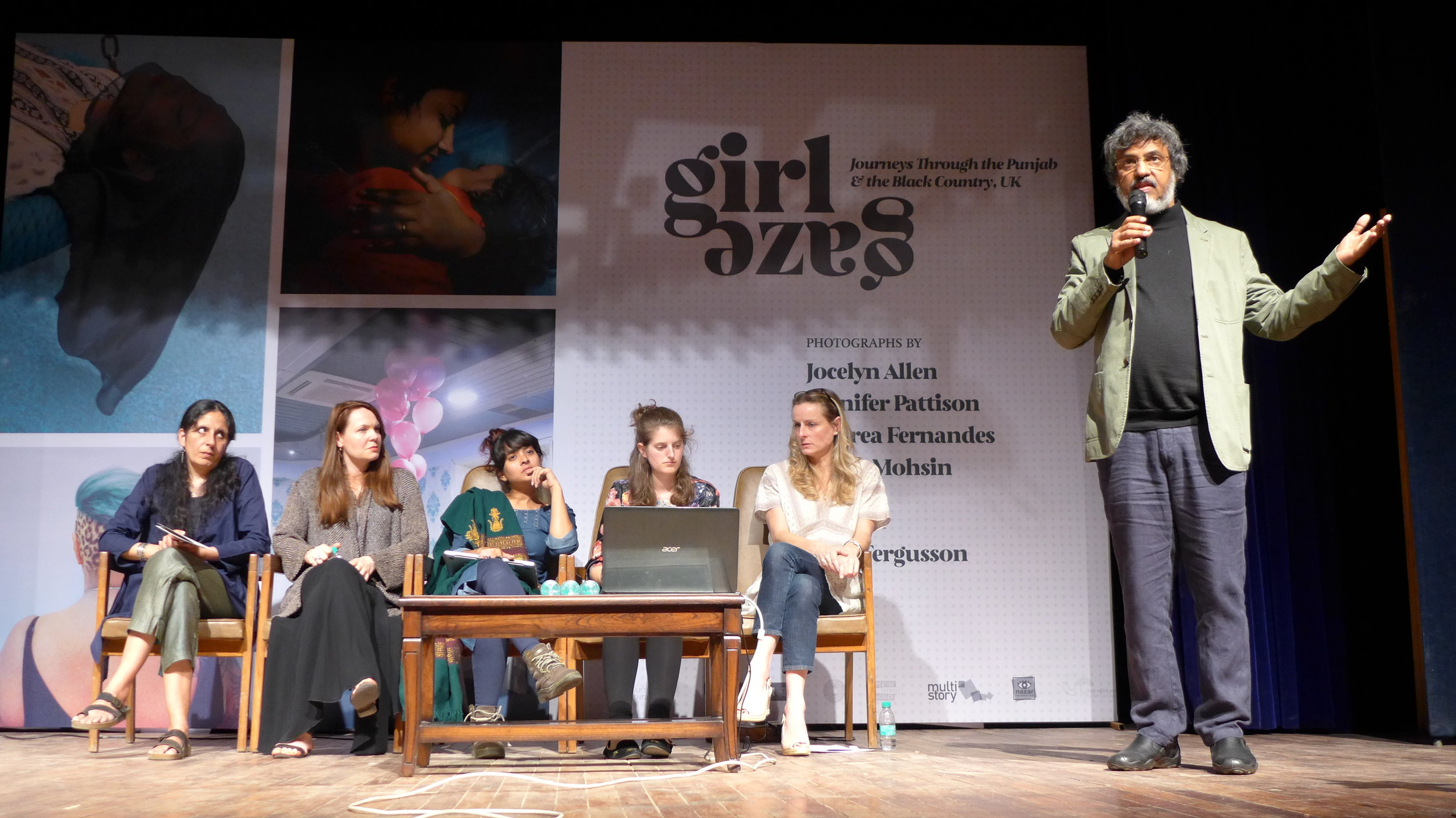 Girl Gaze artists Uzma, Jennifer, Andrea and Jocelyn with curator Iona Fergusson being introduced onstage in Chandigarh.