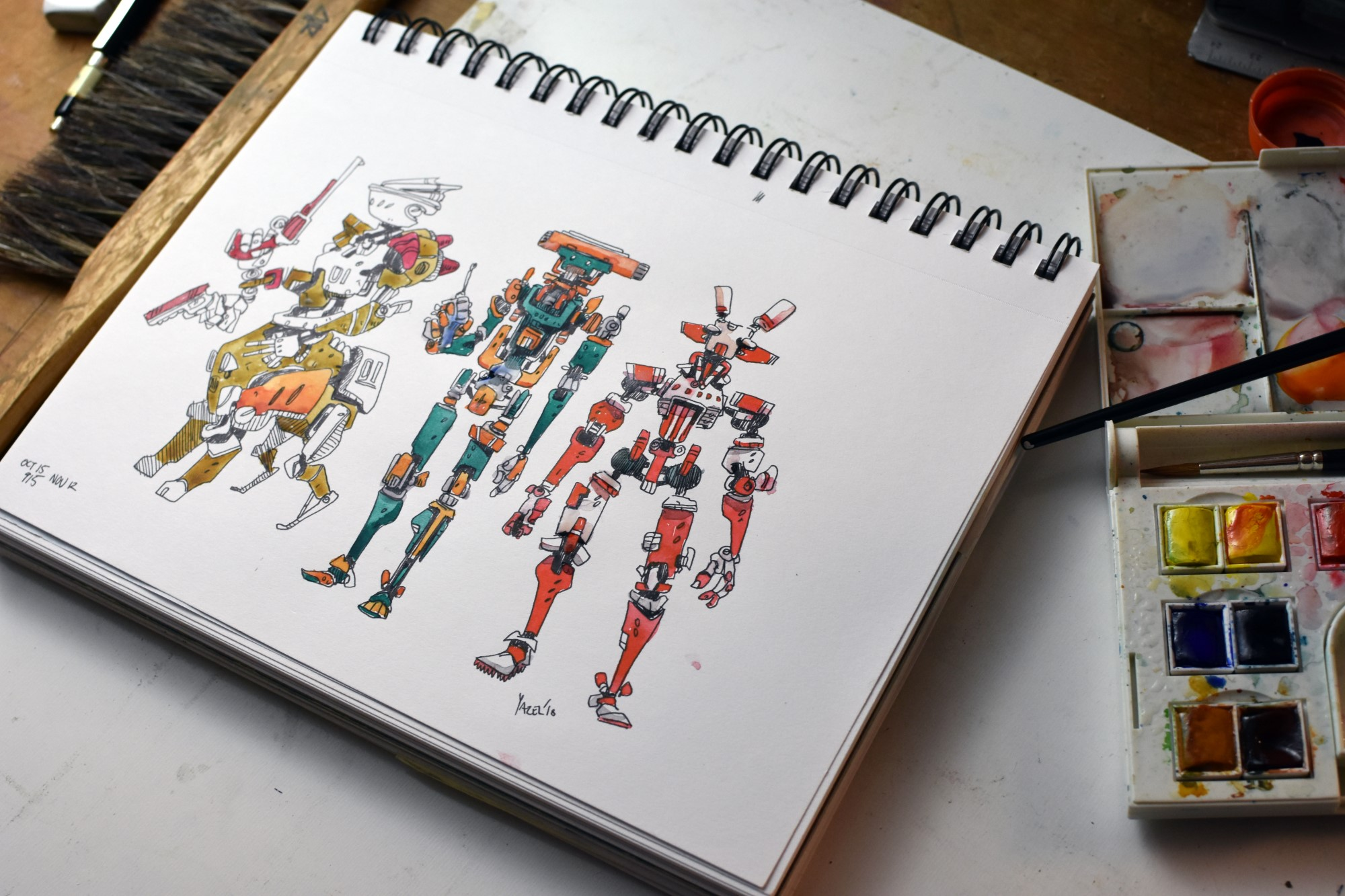 Some comfort zone robots, drawn with a pentel V5 pen, colored with watercolor