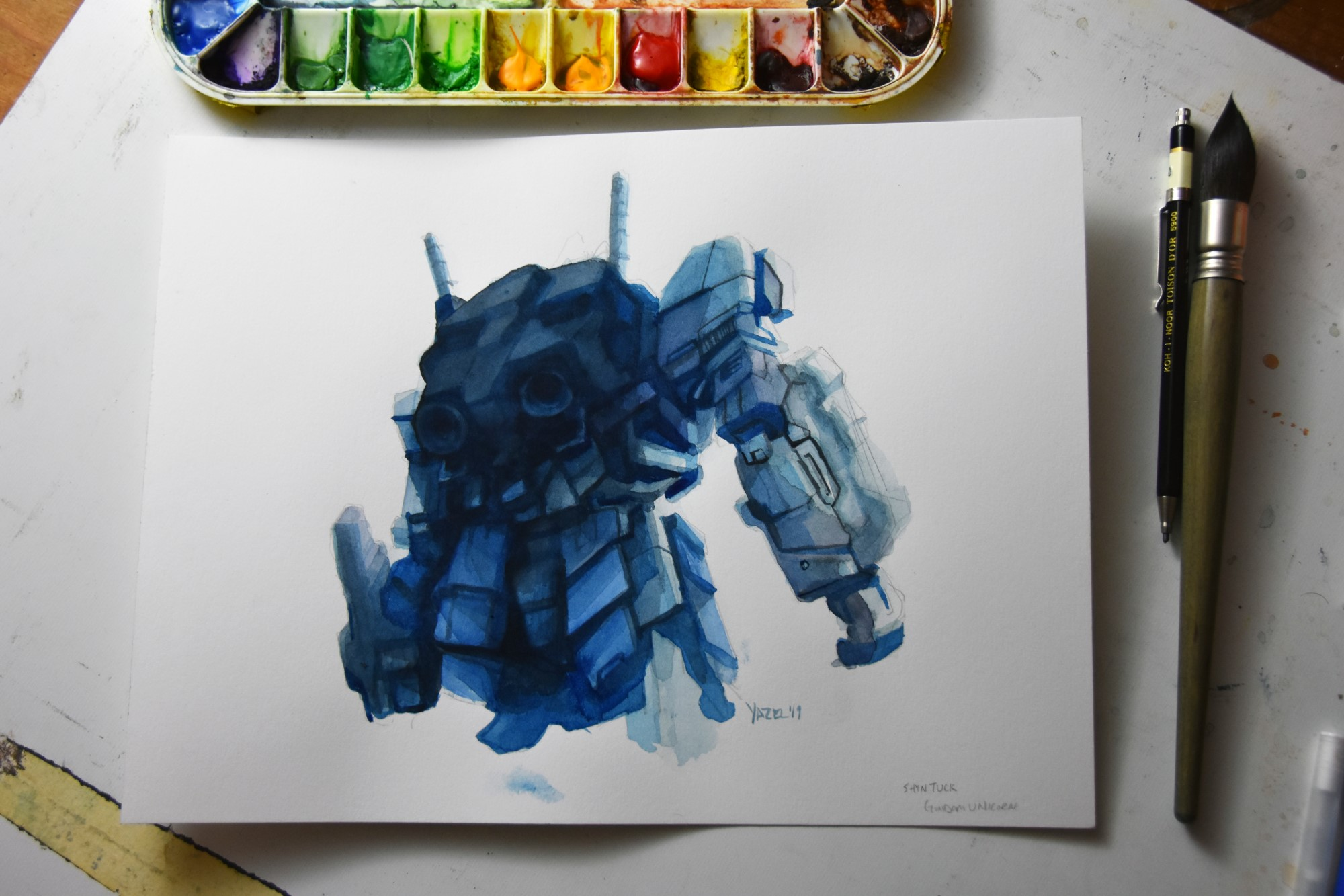 This one is based on a giant gundam statue in Japan. I painted this too dark too fast so it's a bit of a dud, but I learned a lot how I can work with layered values in watercolor.