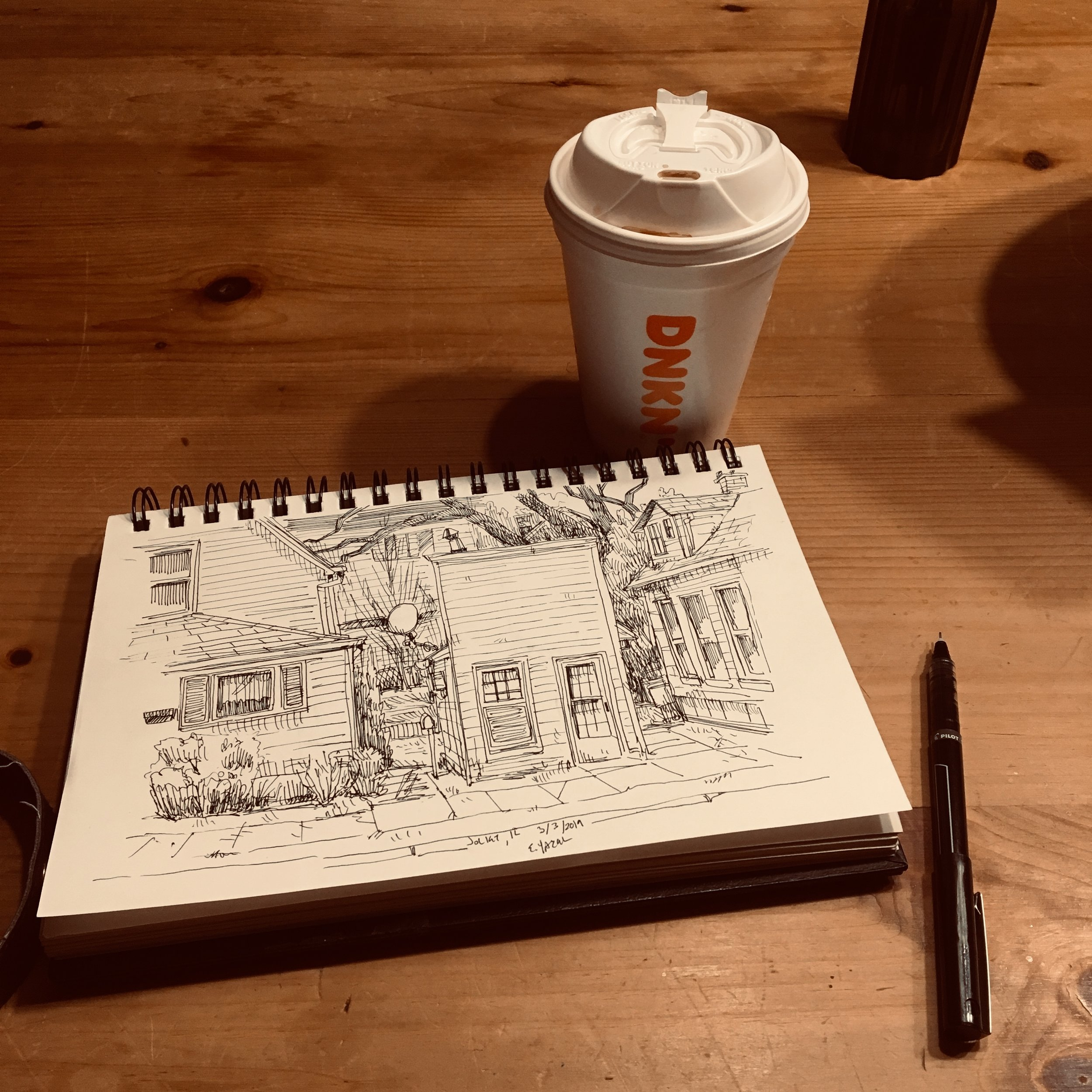 My sketchbook is a loyal travel companion. This trip was into Illinois where I found a delightful little home near an alley