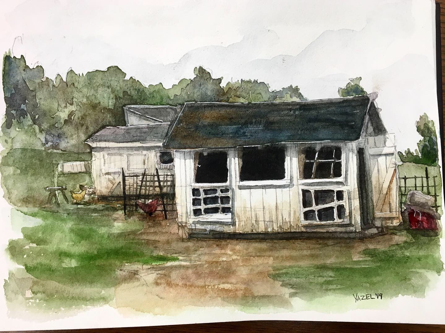 Growing up with history nerds as parents has infused me with a love of everything old, and seeing this old and tiny farm buildings just fills me with joy. They are warn out in the best ways possible and ripe for painting.