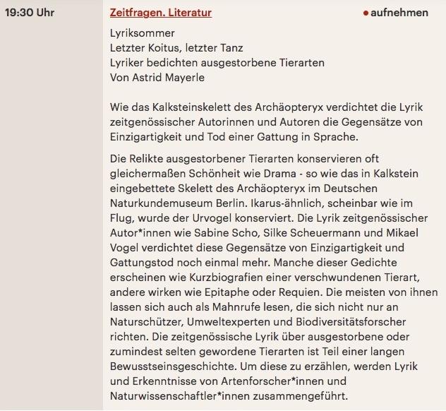 """Die Kulturjournalistin Astrid Mayerle hat mich im Naturkundemuseum Berlin vor dem Dodo-Imitat für das Lyrikfeature """"Letzter Koitus, letzter Tanz.Lyriker bedichten ausgestorbene Tierarten""""interviewt. Ausstrahlung: 17 August 2018, 19:30 Uhr.   Hier mehr."""