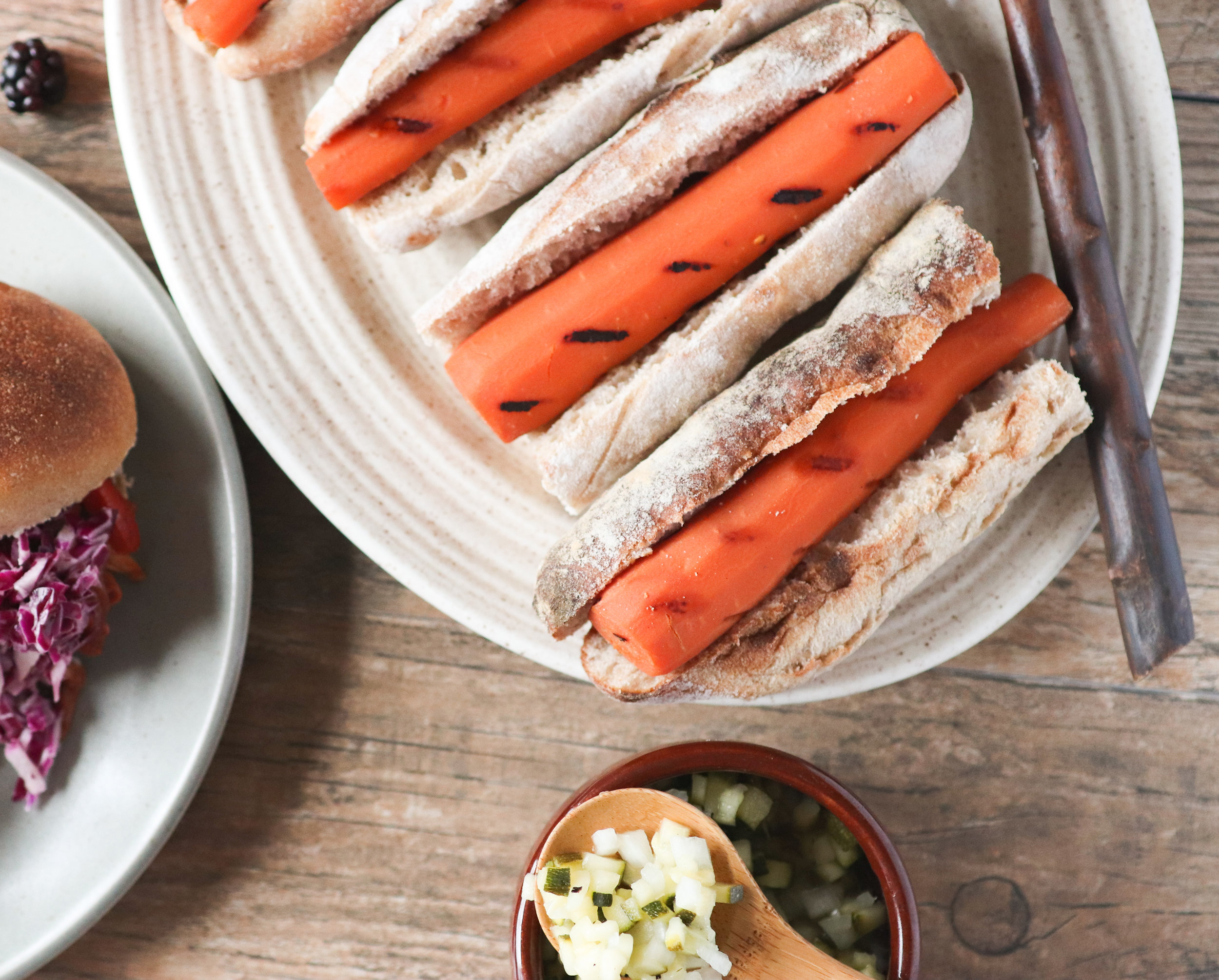 carrot dogs, zucchini relish, vegan, plant based, cookout, ebook, summer, barbeque, grill.jpg