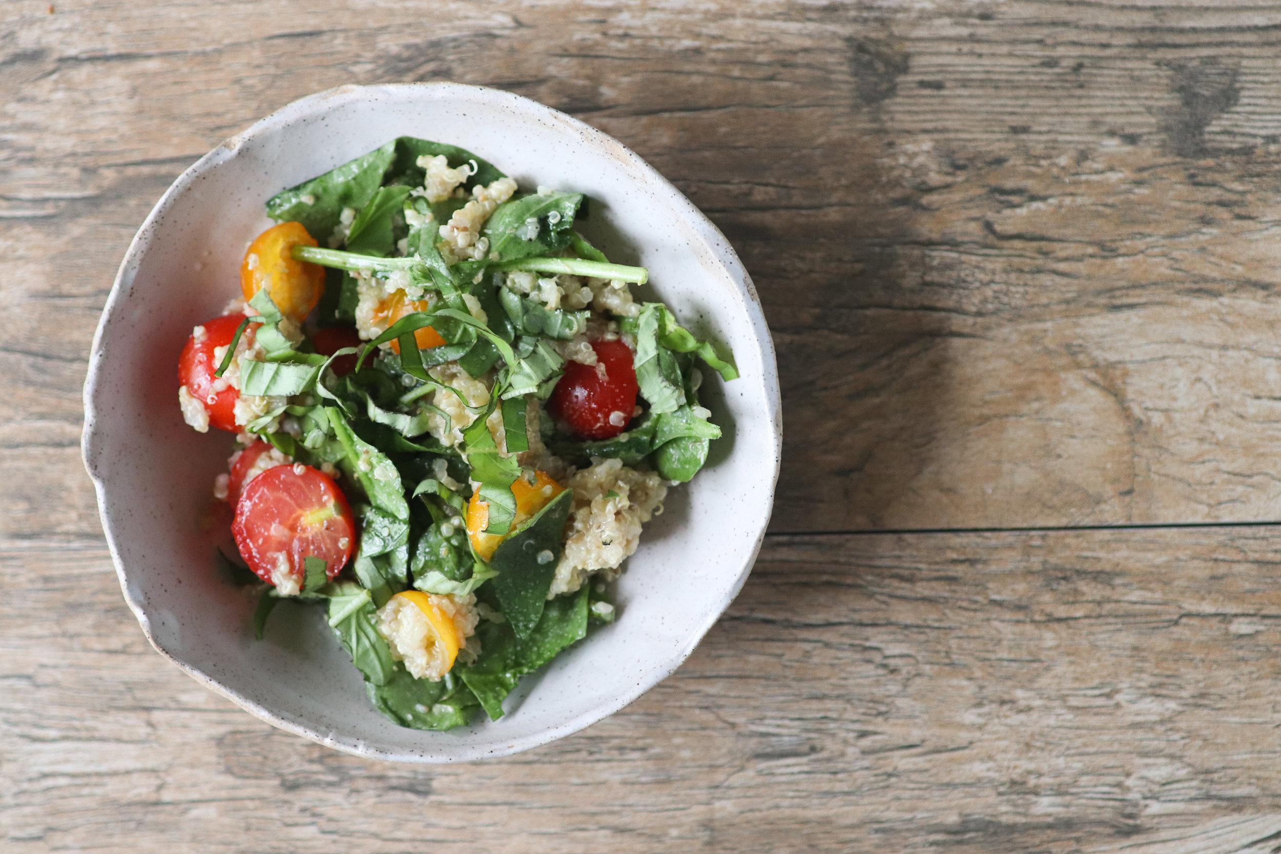 fresh summer quinoa salad, vegan, gluten free, tomatoes, cherry tomatoes, basil, greens, fresh, market haul