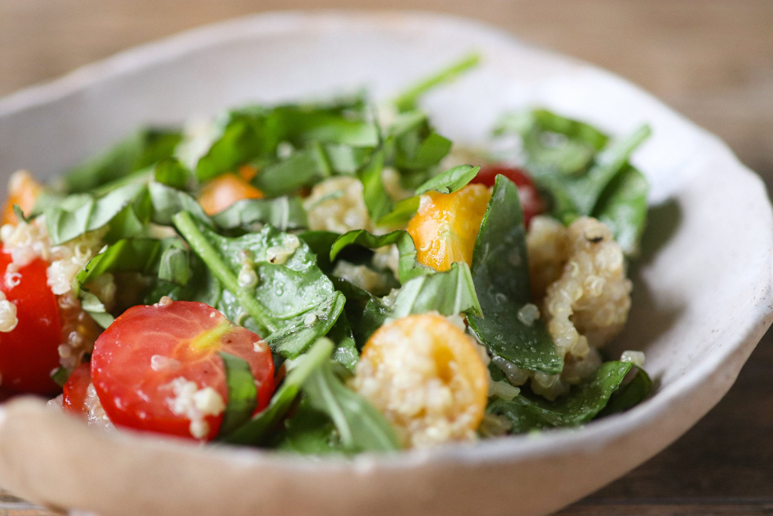 summer quinoa salad, fresh tomatoes, summer tomatoes, cherry tomatoes, vegan, gluten free, plant based, quinoa