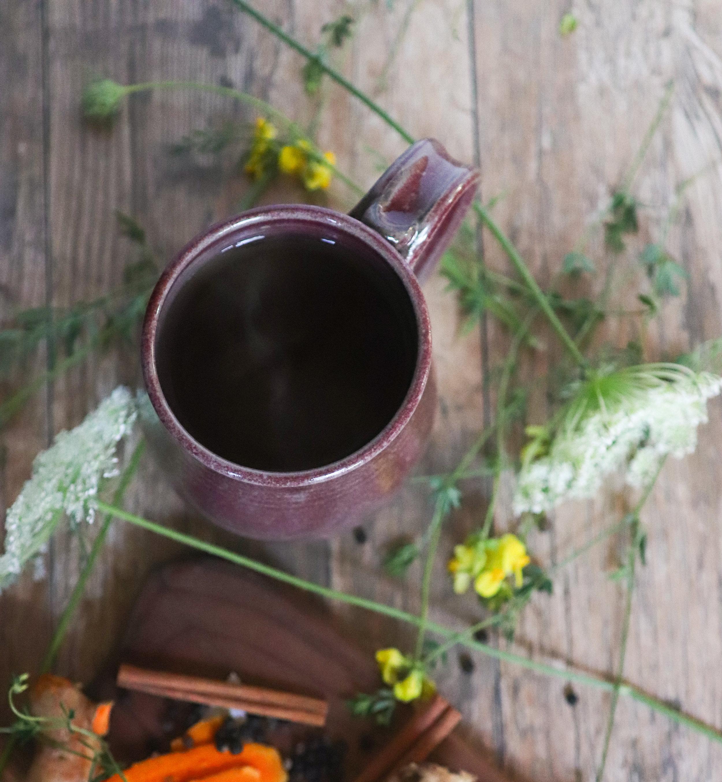 tumeric, adapotogen, tea, caffeine free, recipe, vegan, plant based