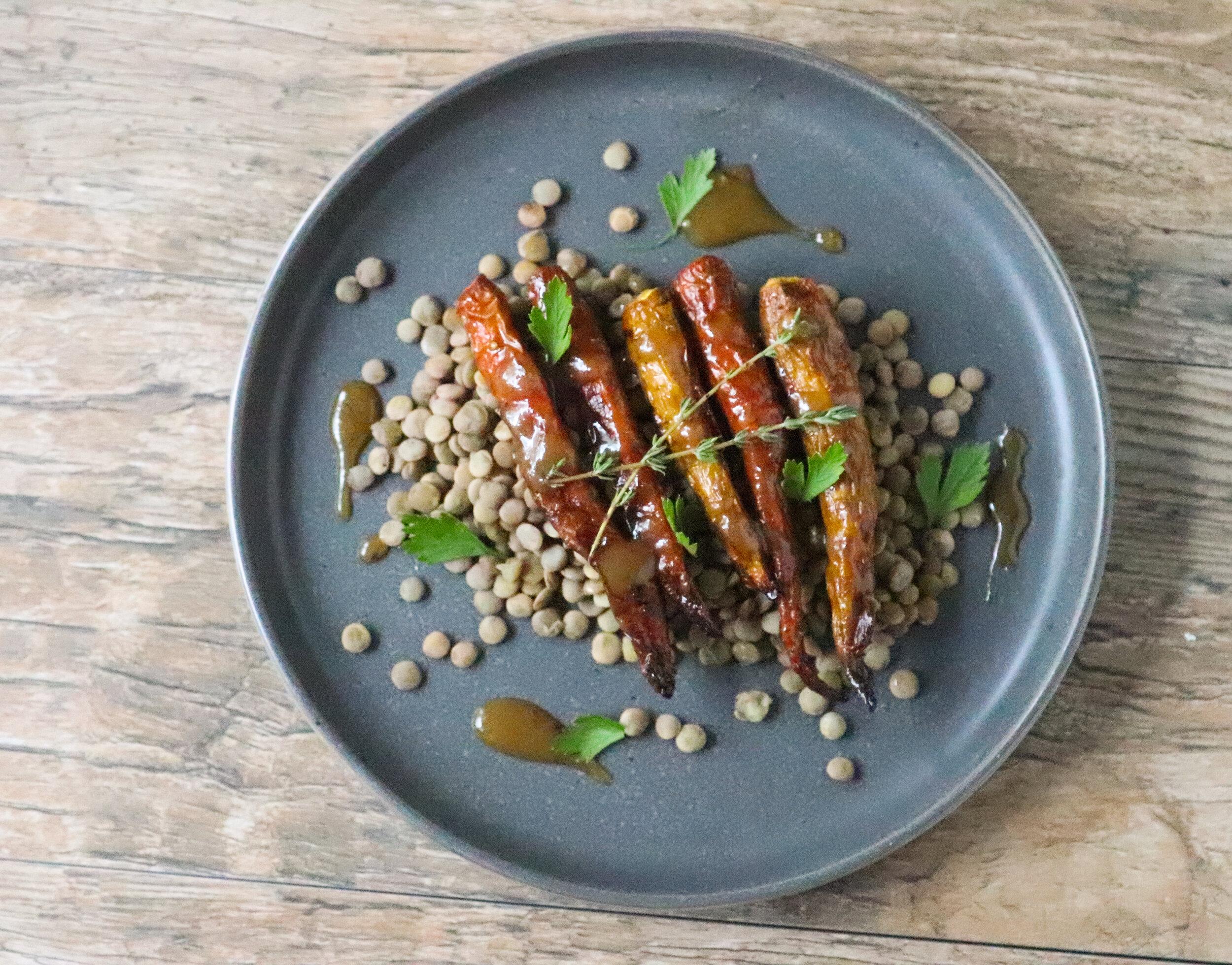 miso-maple glazed carrots, roasted carrots, vegan, gluten free, carrots, fresh, vibrant, plant based