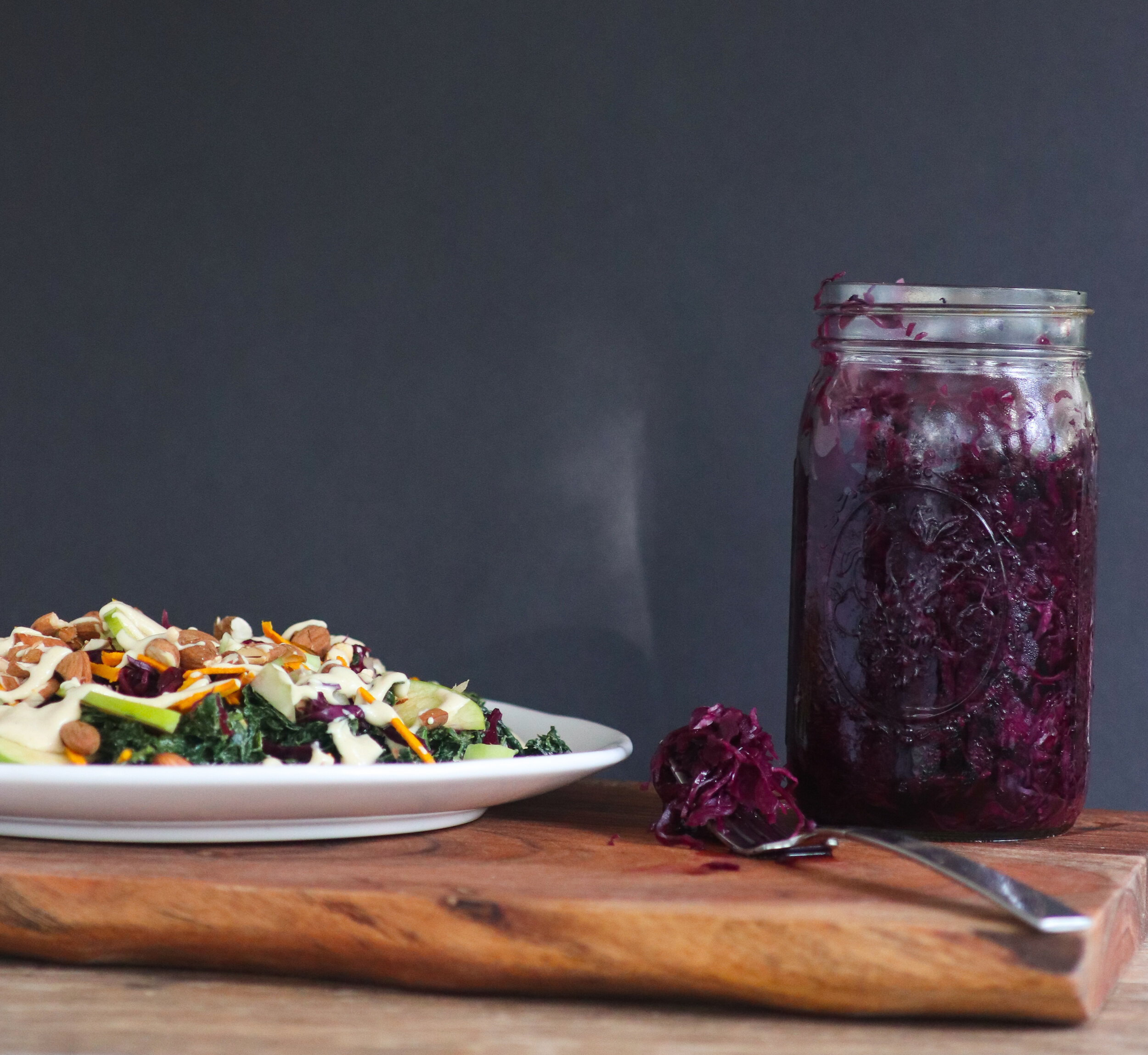 plant based, gluten free, oil free, tahini dressing, turmeric, saurkraut, massaged kale and apple salad.jpg