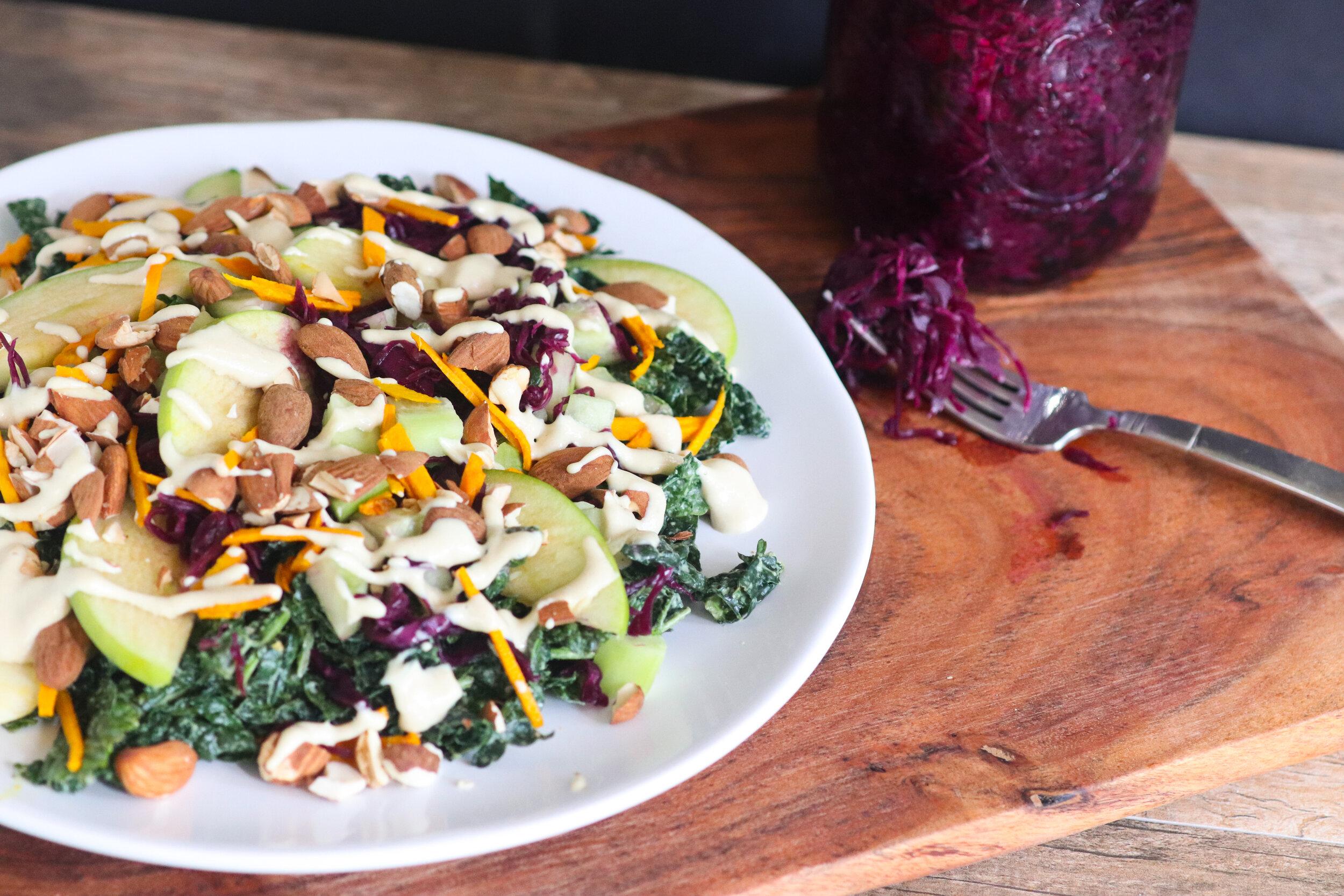 Plant based, vegan, pickled tumeric, massaged kale and apple salad, gluten free, oil free.jpg
