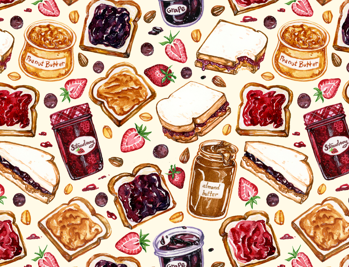 Peanut Butter and Jelly Watercolor -