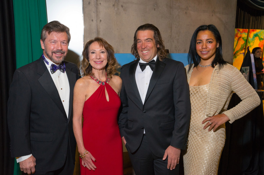 """Mark Sexton, Jonette Crowley, artist Topher Straus (cq), and Natasha Williamson. """"Saturday Night Alive,"""" benefiting Denver Center for the Performing Arts education programs, at the Denver Center for the Performing Arts, Seawell Ballroom, in Denver, Colorado. Photo StevePeterson.photo"""